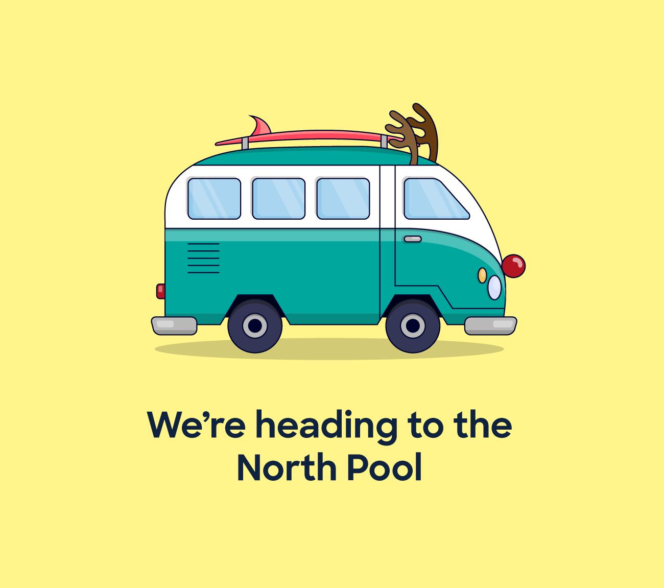 we're heading to the north pool in a combi van with reindeer antlers
