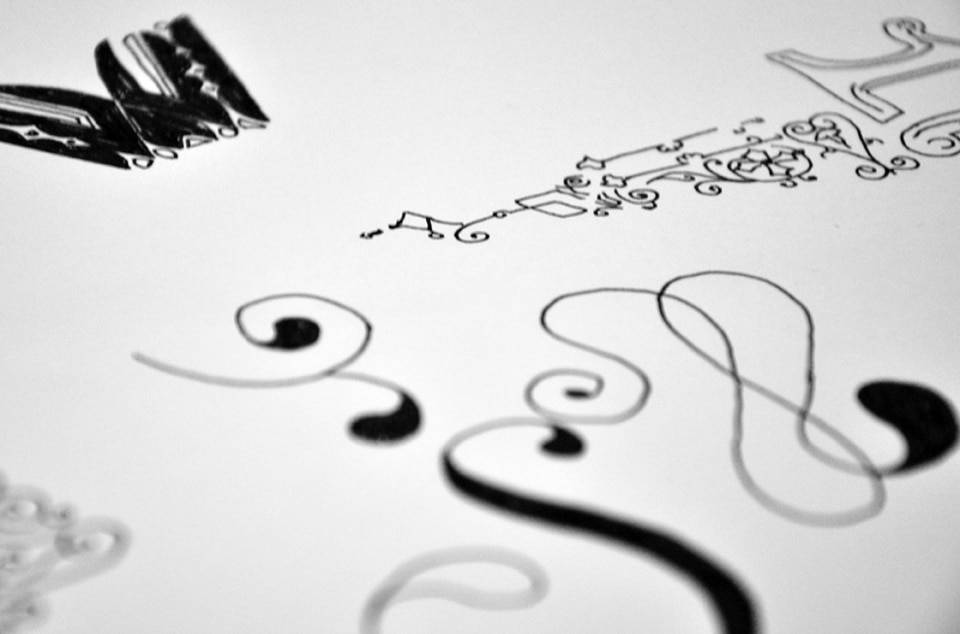Images of sketches created to design decorative typography