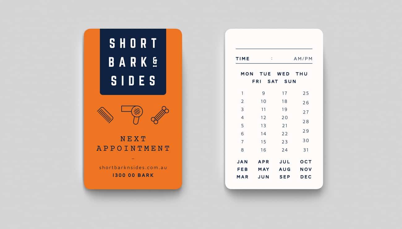 short bark & sides appointment card design adelaide
