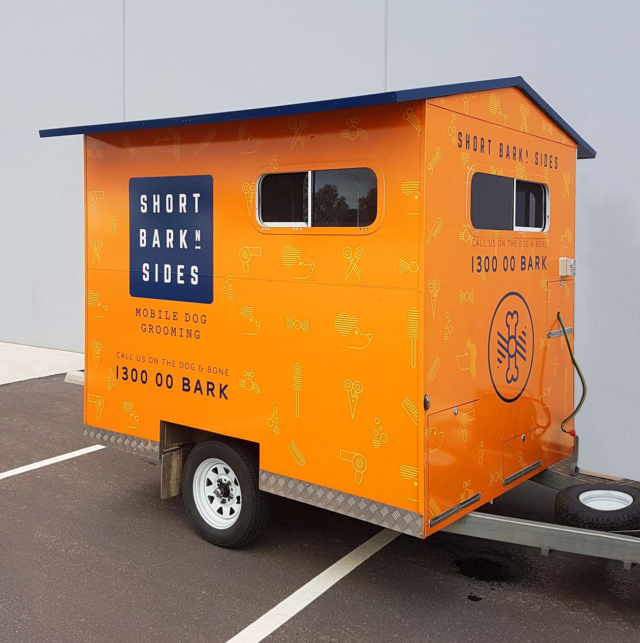 short bark & sides dog grooming trailer design adelaide