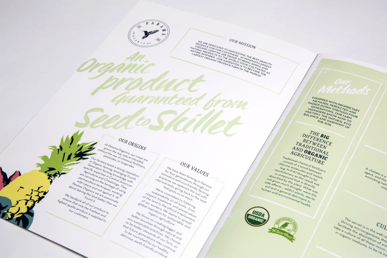 panama organics brochure design internal spread