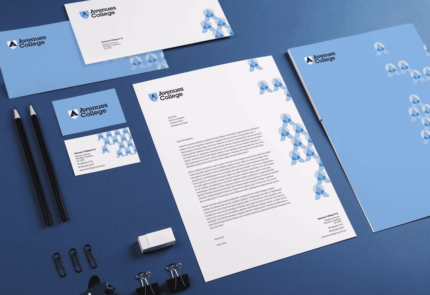 Avenues College stationery design adelaide