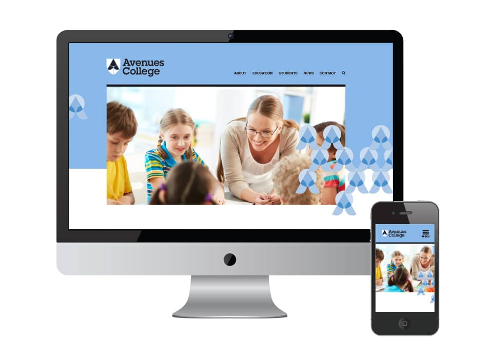 Avenues College identity refresh, web design, Adelaide school