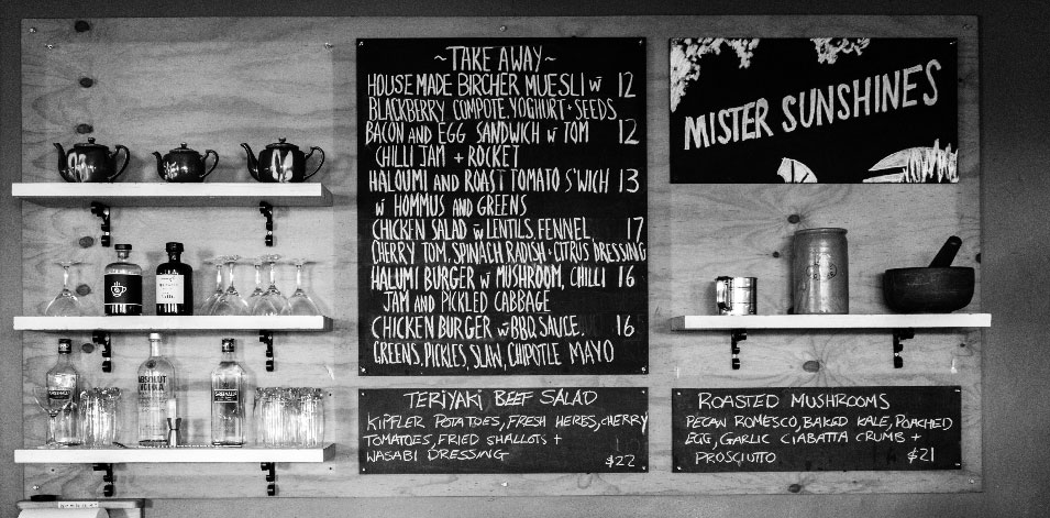 mister sunshines photo of menu board adelaide