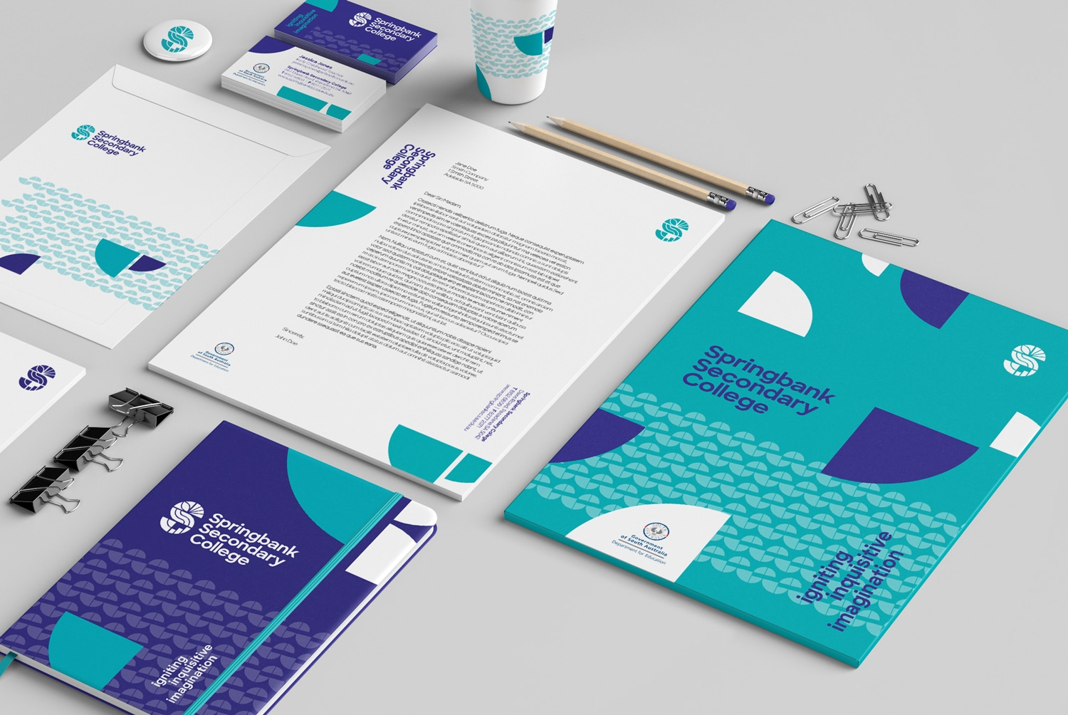 Springbank Secondary College school identity design Adelaide stationery