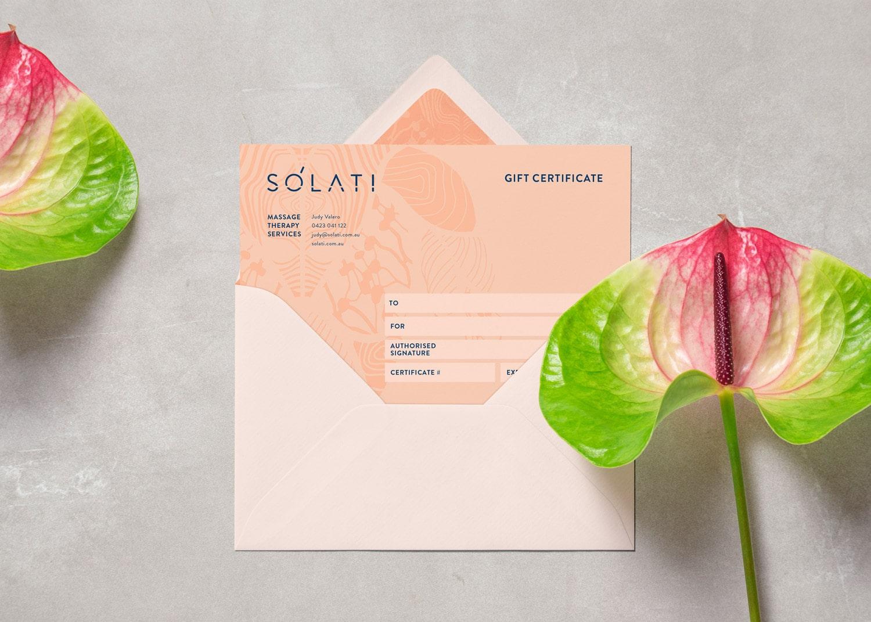 Solati branding gift voucher design Adelaide