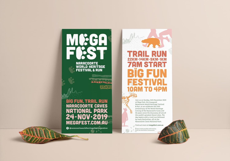 Mega Fest Naracoorte World Heritage Festival and Run 2019 DL flyer brochure graphic design Adelaide