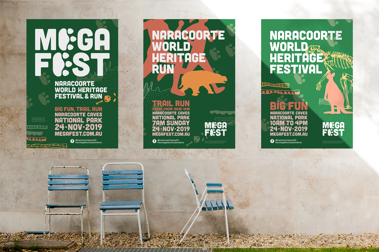 Mega Fest Naracoorte World Heritage Festival and Run 2019 posters graphic design Adelaide