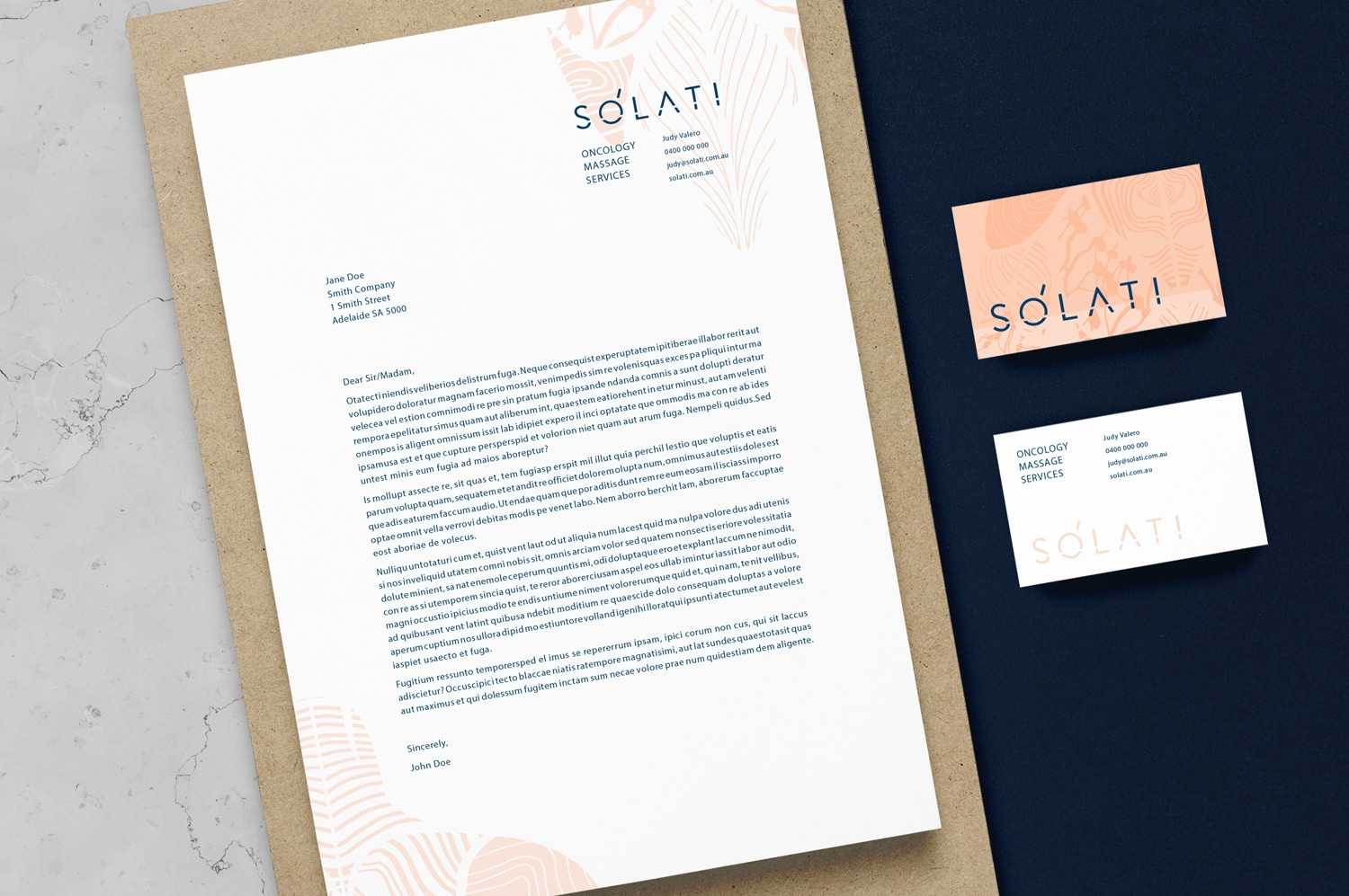 Solati branding business cards letterhead Adelaide Oncology Massage Services graphic design
