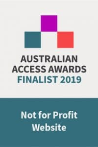 Badge stating website is a finalist in the not for profit website of the year award